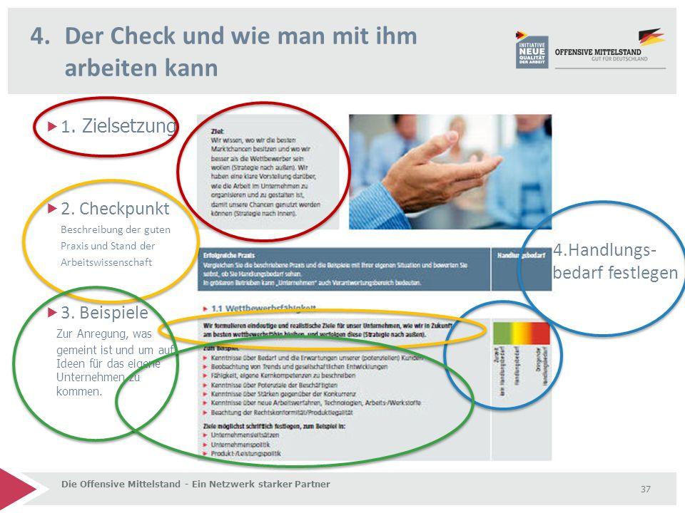 4.Der Check und wie man mit ihm arbeiten kann Die Offensive Mittelstand - Ein Netzwerk starker Partner 37  1. Zielsetzung  2. Checkpunkt Beschreibun