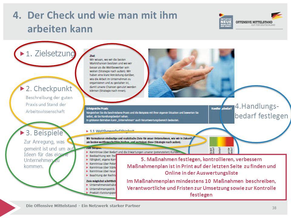 4.Der Check und wie man mit ihm arbeiten kann Die Offensive Mittelstand - Ein Netzwerk starker Partner 38  1. Zielsetzung  2. Checkpunkt Beschreibun