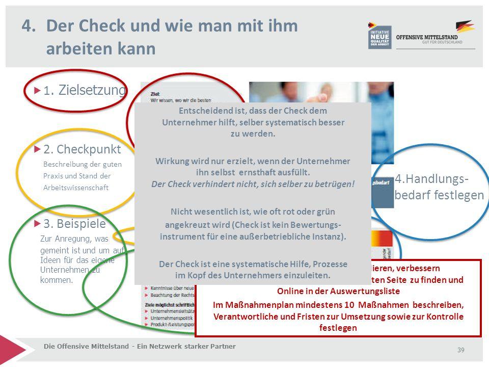 4.Der Check und wie man mit ihm arbeiten kann Die Offensive Mittelstand - Ein Netzwerk starker Partner 39  1. Zielsetzung  2. Checkpunkt Beschreibun