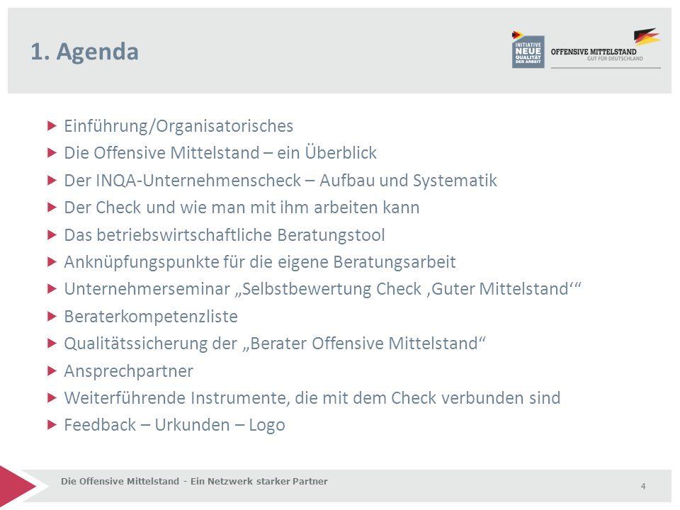  Einführung/Organisatorisches  Die Offensive Mittelstand – ein Überblick  Der INQA-Unternehmenscheck – Aufbau und Systematik  Der Check und wie ma