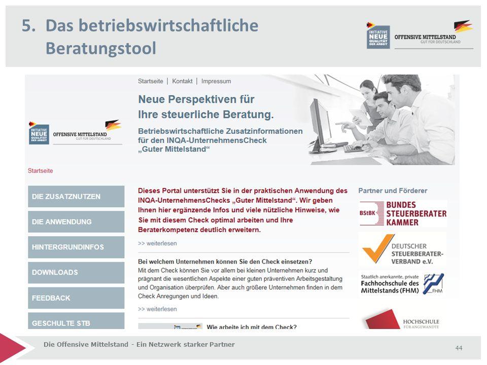5.Das betriebswirtschaftliche Beratungstool Die Offensive Mittelstand - Ein Netzwerk starker Partner 44