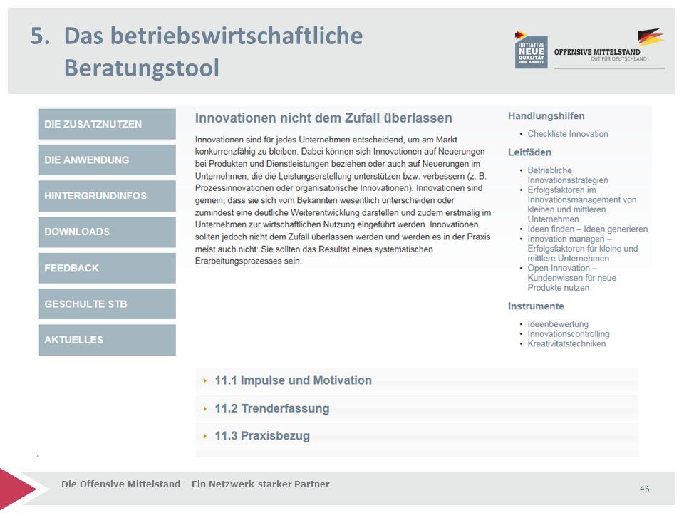5.Das betriebswirtschaftliche Beratungstool Die Offensive Mittelstand - Ein Netzwerk starker Partner 46