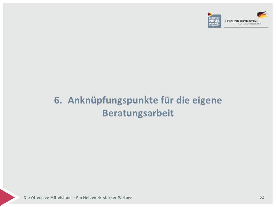 Die Offensive Mittelstand - Ein Netzwerk starker Partner 6.Anknüpfungspunkte für die eigene Beratungsarbeit 52