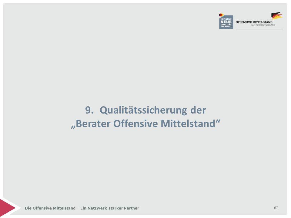 """Die Offensive Mittelstand - Ein Netzwerk starker Partner 9.Qualitätssicherung der """"Berater Offensive Mittelstand"""" 62"""