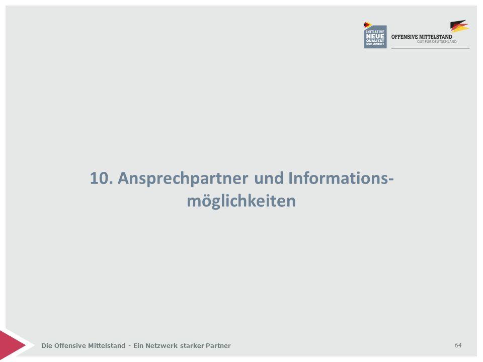 Die Offensive Mittelstand - Ein Netzwerk starker Partner 10. Ansprechpartner und Informations- möglichkeiten 64