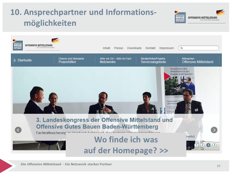 10.Ansprechpartner und Informations- möglichkeiten Die Offensive Mittelstand - Ein Netzwerk starker Partner 65 Wo finde ich was auf der Homepage.