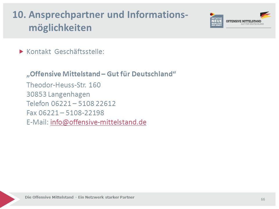 """ Kontakt Geschäftsstelle: """"Offensive Mittelstand – Gut für Deutschland Theodor-Heuss-Str."""