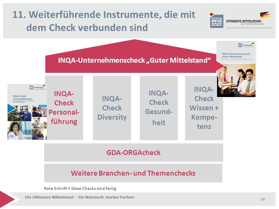 """11. Weiterführende Instrumente, die mit dem Check verbunden sind Die Offensive Mittelstand - Ein Netzwerk starker Partner 68 INQA-Unternehmenscheck """"G"""