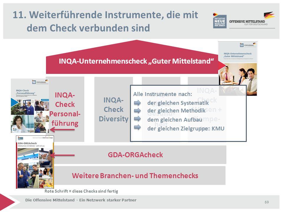 """11. Weiterführende Instrumente, die mit dem Check verbunden sind Die Offensive Mittelstand - Ein Netzwerk starker Partner 69 INQA-Unternehmenscheck """"G"""