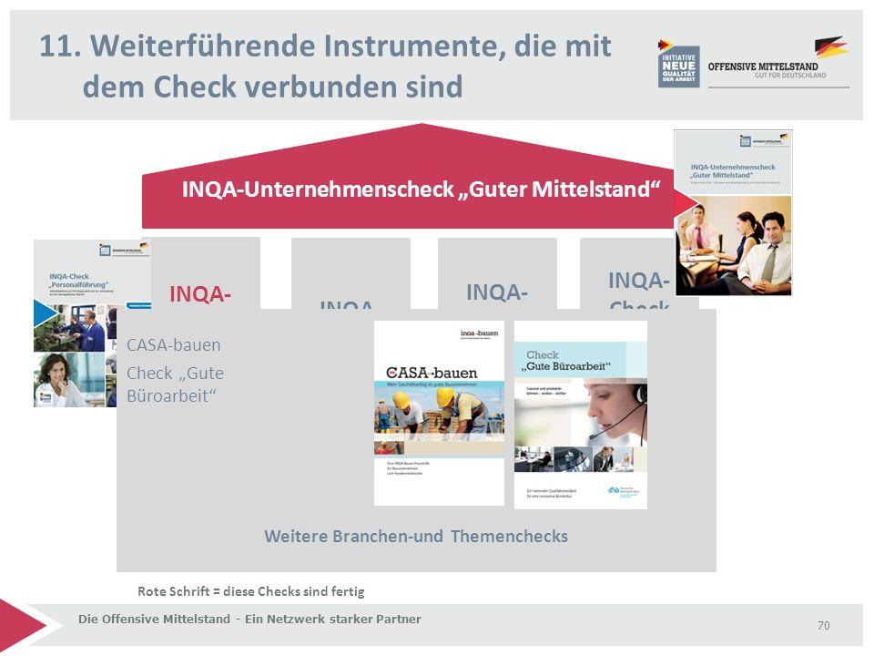 """11. Weiterführende Instrumente, die mit dem Check verbunden sind Die Offensive Mittelstand - Ein Netzwerk starker Partner 70 INQA-Unternehmenscheck """"G"""