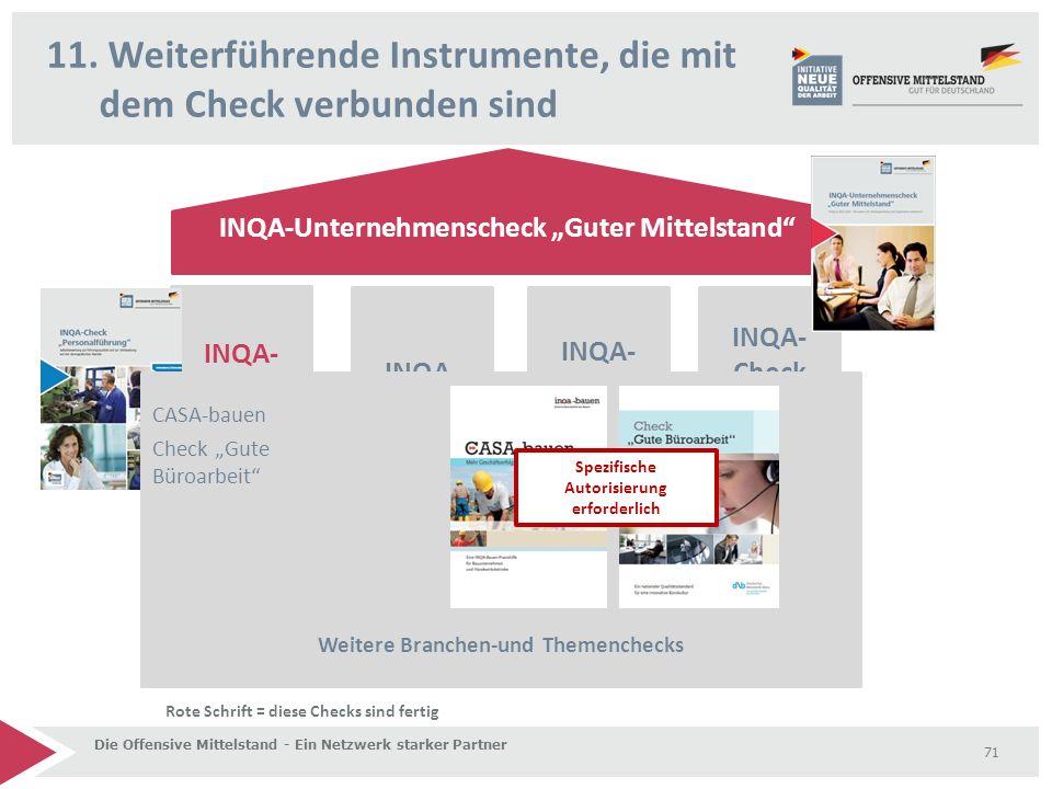 """11. Weiterführende Instrumente, die mit dem Check verbunden sind Die Offensive Mittelstand - Ein Netzwerk starker Partner 71 INQA-Unternehmenscheck """"G"""