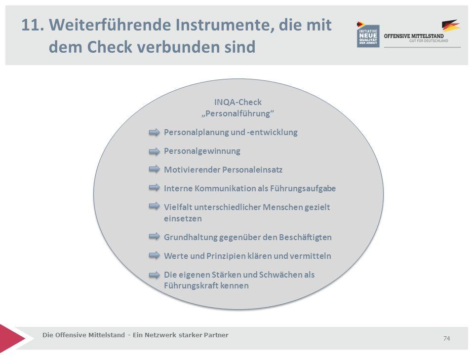 """11. Weiterführende Instrumente, die mit dem Check verbunden sind Die Offensive Mittelstand - Ein Netzwerk starker Partner 74 INQA-Check """"Personalführu"""