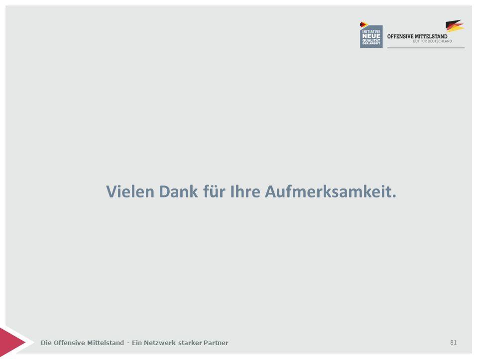 Die Offensive Mittelstand - Ein Netzwerk starker Partner Vielen Dank für Ihre Aufmerksamkeit. 81