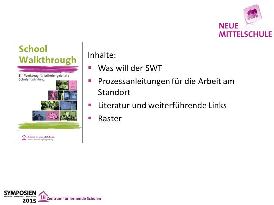 Inhalte:  Was will der SWT  Prozessanleitungen für die Arbeit am Standort  Literatur und weiterführende Links  Raster