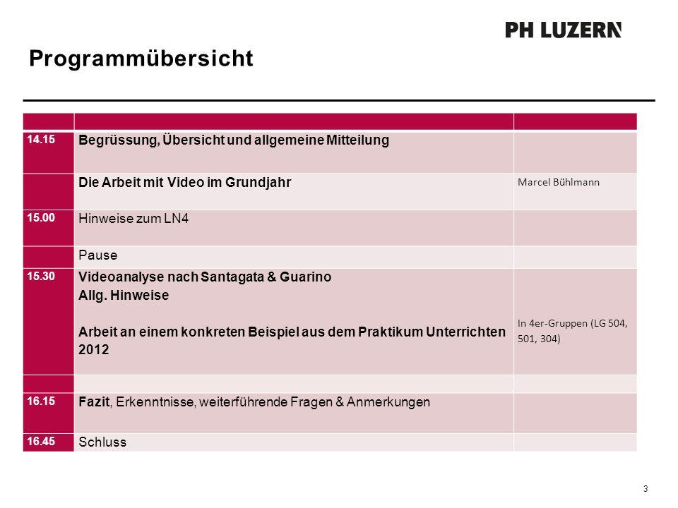 Programmübersicht 3 14.15 Begrüssung, Übersicht und allgemeine Mitteilung Die Arbeit mit Video im Grundjahr Marcel Bühlmann 15.00 Hinweise zum LN4 Pau