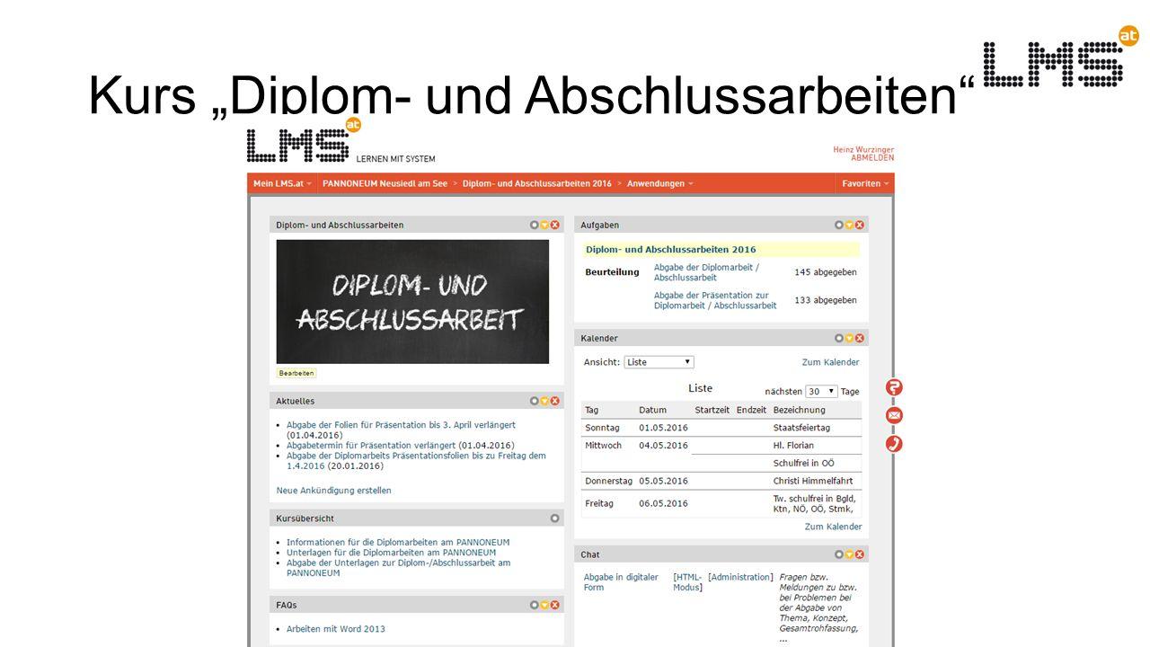 """Kurs """"Diplom- und Abschlussarbeiten Unterstützung bei den Diplom- und Abschlussarbeiten durch Features des LMS"""