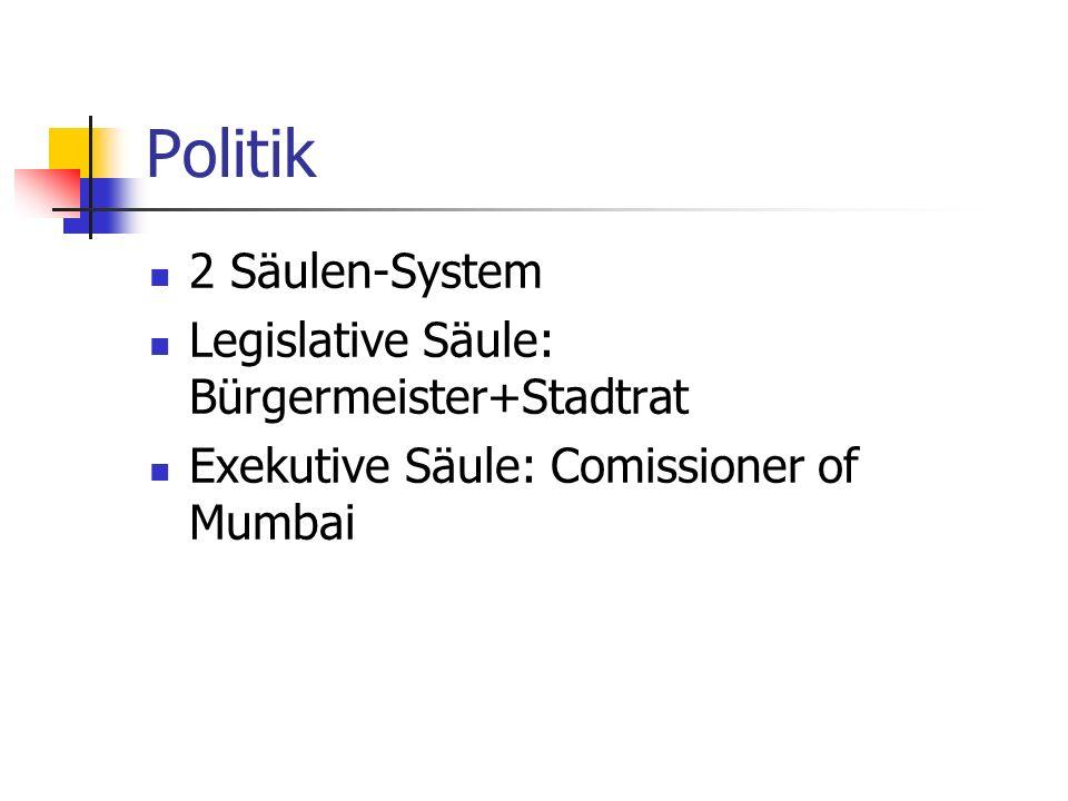 Politik 2 Säulen-System Legislative Säule: Bürgermeister+Stadtrat Exekutive Säule: Comissioner of Mumbai