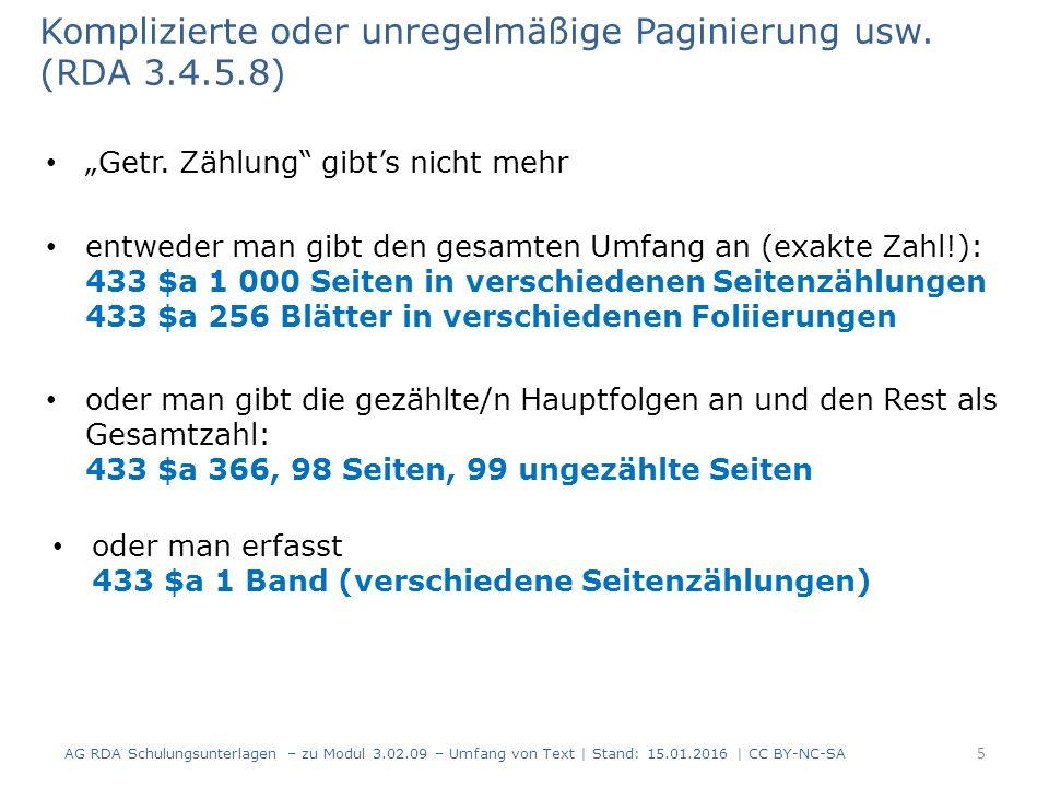 """Komplizierte oder unregelmäßige Paginierung usw. (RDA 3.4.5.8) """"Getr."""