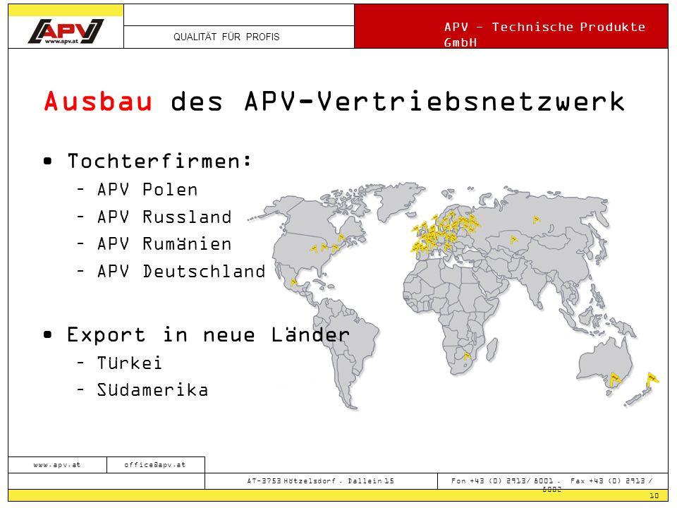 QUALITÄT FÜR PROFIS APV - Technische Produkte GmbH 10 www.apv.atoffice@apv.at AT-3753 Hötzelsdorf. Dallein 15 Fon +43 (0) 2913/ 8001. Fax +43 (0) 2913