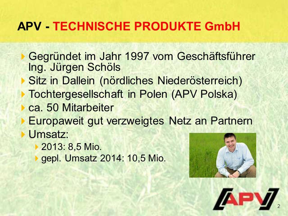 APV - TECHNISCHE PRODUKTE GmbH  Gegründet im Jahr 1997 vom Geschäftsführer Ing.