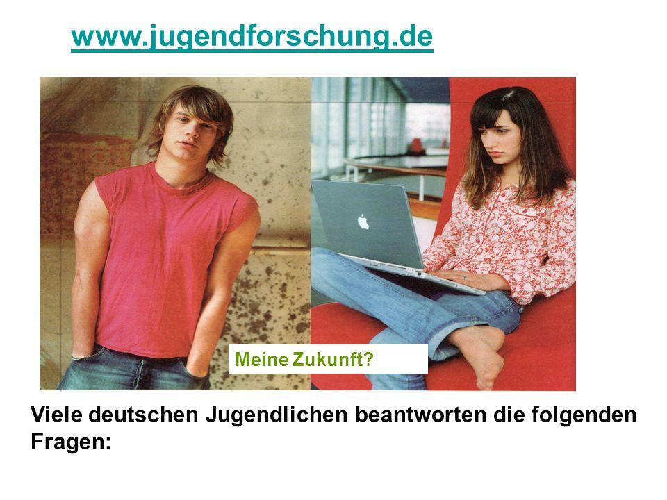 www.jugendforschung.de Viele deutschen Jugendlichen beantworten die folgenden Fragen: Meine Zukunft