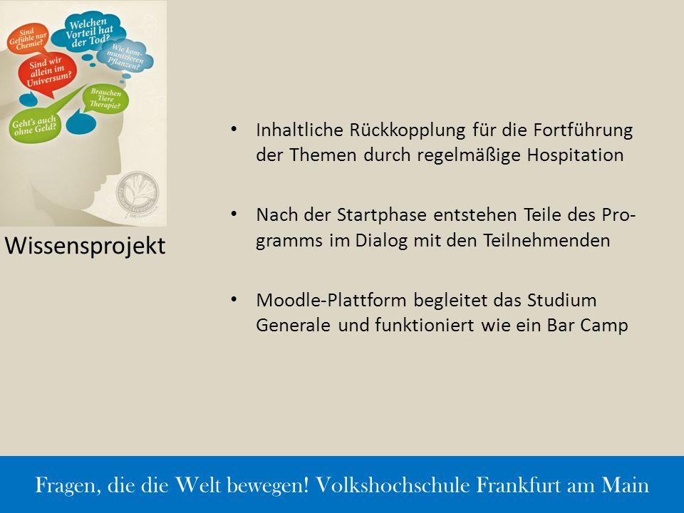 Wissensprojekt Inhaltliche Rückkopplung für die Fortführung der Themen durch regelmäßige Hospitation Nach der Startphase entstehen Teile des Pro- gram