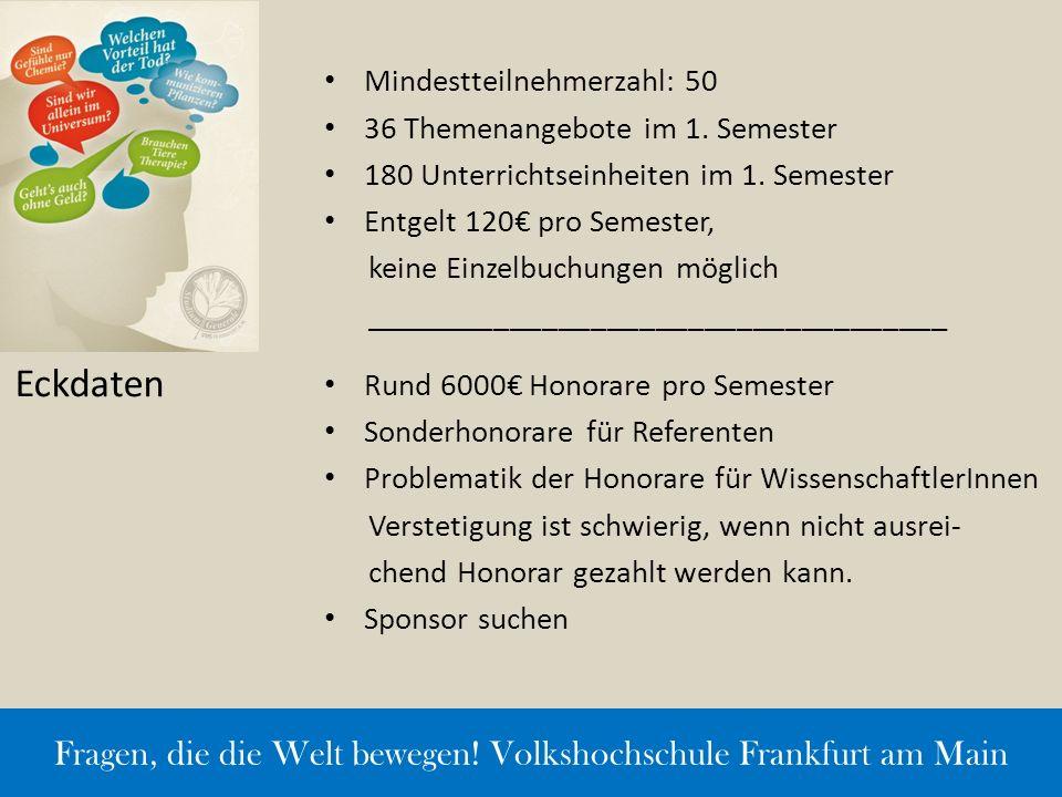 Mindestteilnehmerzahl: 50 36 Themenangebote im 1. Semester 180 Unterrichtseinheiten im 1. Semester Entgelt 120€ pro Semester, keine Einzelbuchungen mö