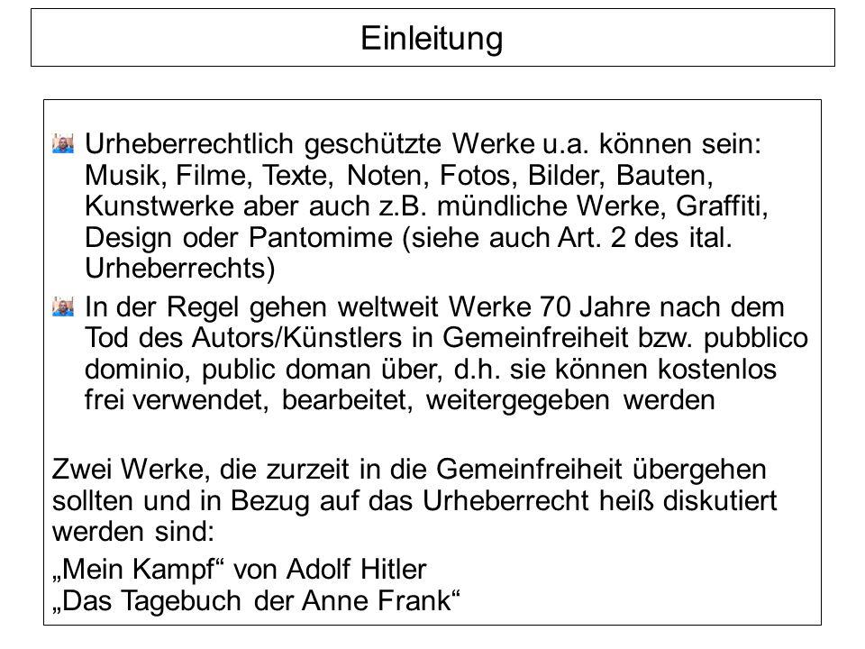 Einleitung Urheberrechtlich geschützte Werke u.a.