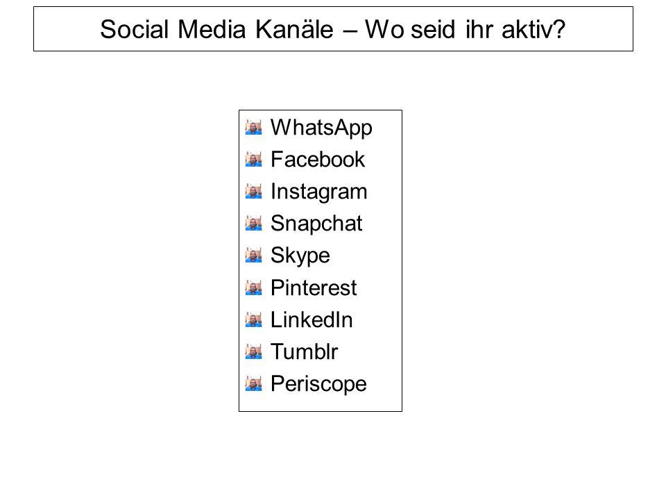 Social Media Kanäle – Wo seid ihr aktiv.
