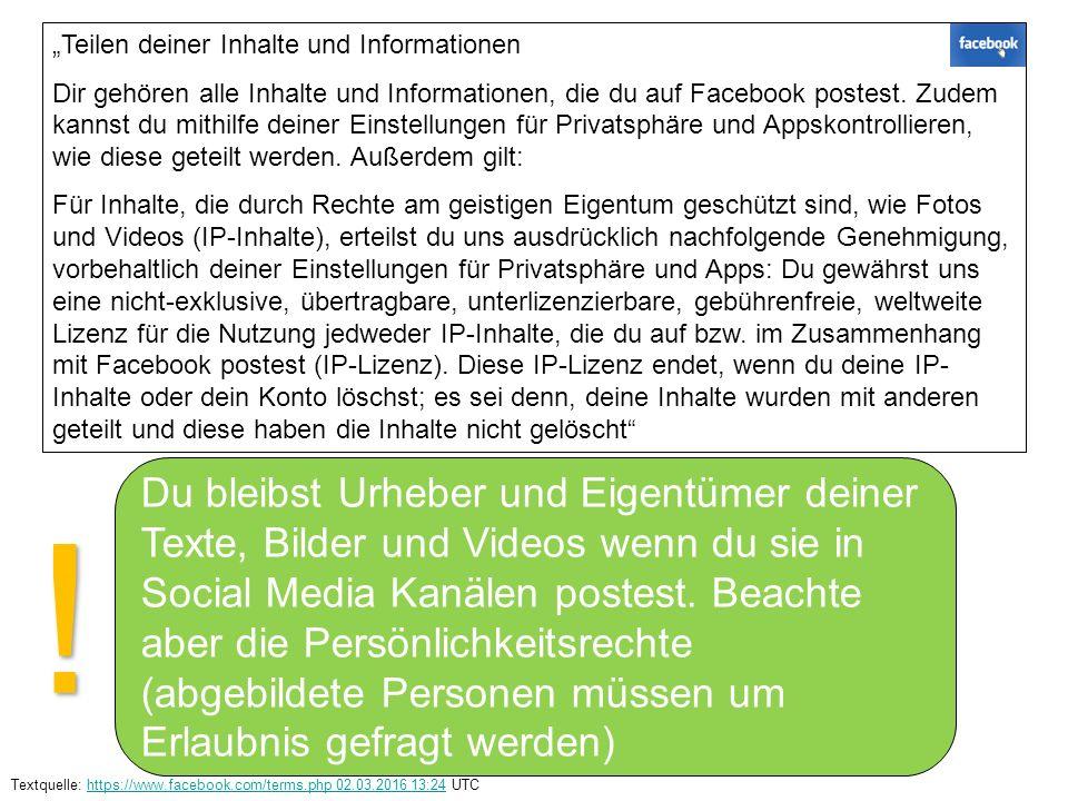 """""""Teilen deiner Inhalte und Informationen Dir gehören alle Inhalte und Informationen, die du auf Facebook postest."""