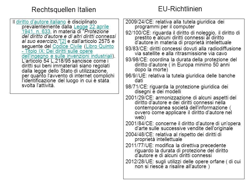 Rechtsquellen Italien Il diritto d autore italiano è disciplinato prevalentemente dalla Legge 22 aprile 1941, n.