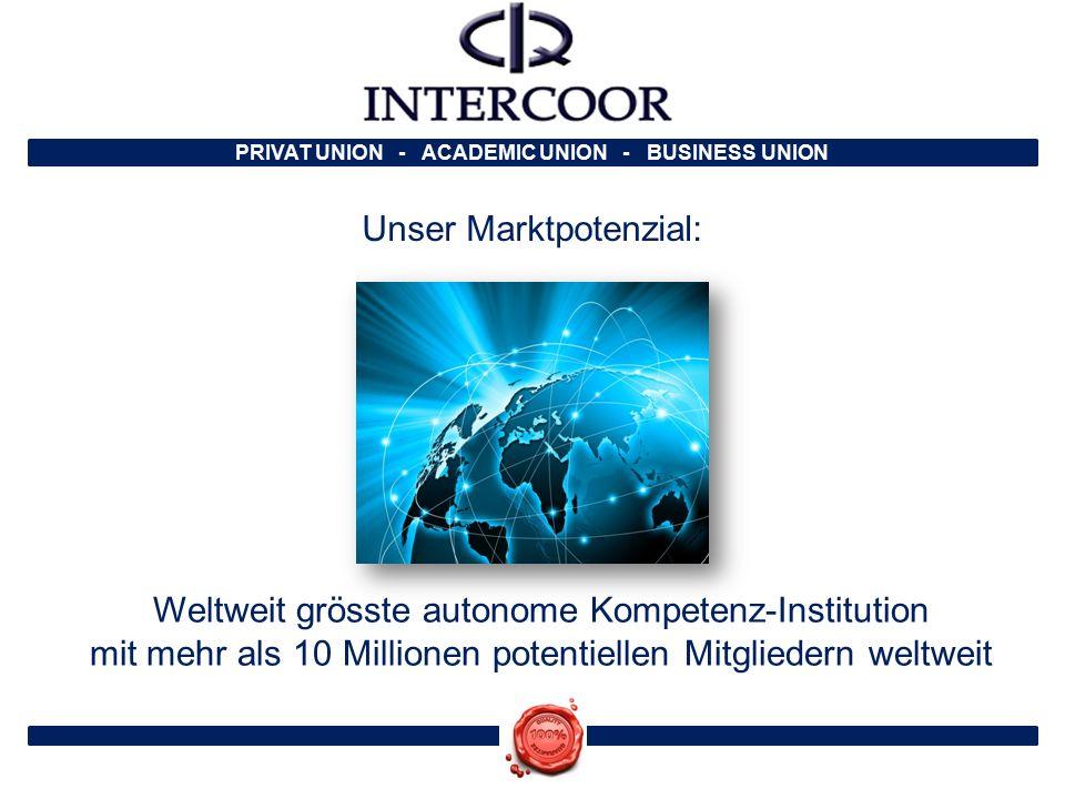 Unser Marktpotenzial: Weltweit grösste autonome Kompetenz-Institution mit mehr als 10 Millionen potentiellen Mitgliedern weltweit