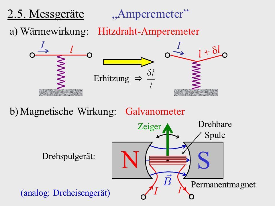 "2.5. Messgeräte ""Amperemeter"" a)Wärmewirkung: Hitzdraht-Amperemeter I l Erhitzung ⇒ I l +  l N S b)Magnetische Wirkung: Galvanometer Permanentmagnet"