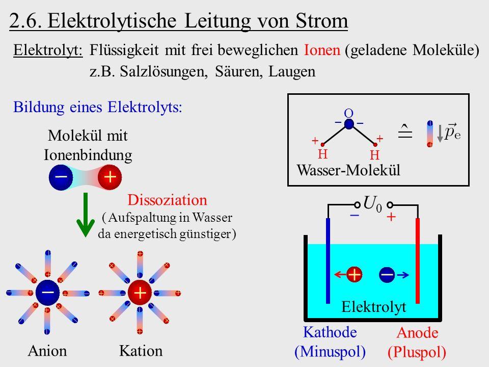 2.6. Elektrolytische Leitung von Strom Elektrolyt: Flüssigkeit mit frei beweglichen Ionen (geladene Moleküle) z.B. Salzlösungen, Säuren, Laugen Bildun