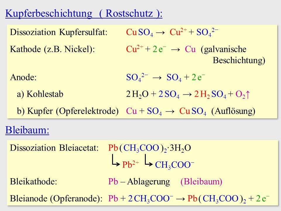 Kupferbeschichtung ( Rostschutz ): Dissoziation Kupfersulfat:Cu SO 4 → Cu 2+ + SO 4 2− Kathode (z.B. Nickel):Cu 2+ + 2 e − → Cu (galvanische Beschicht