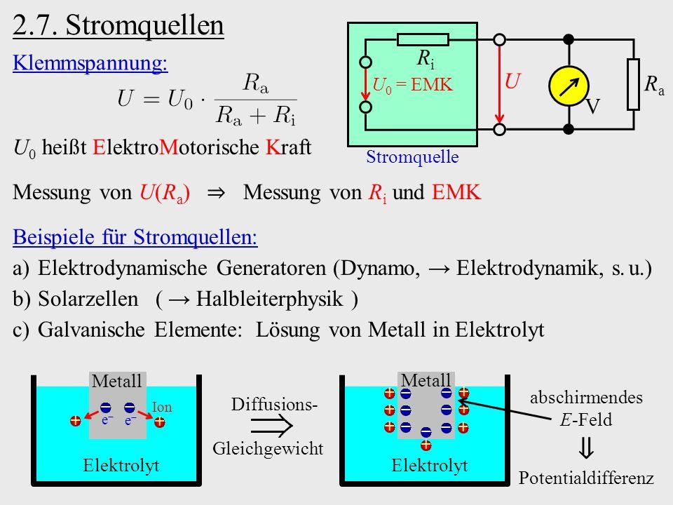2.7. Stromquellen Stromquelle U V RaRa RiRi U 0 = EMK Elektrolyt Metall + + − − + + + + − − − − +− Diffusions- Gleichgewicht Beispiele für Stromquelle