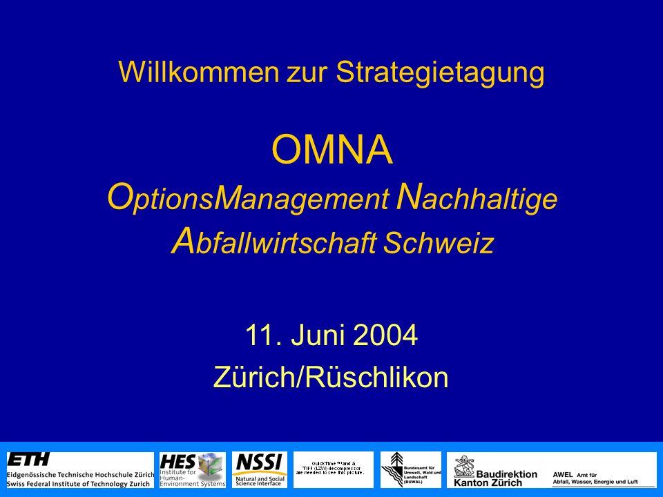 Willkommen zur Strategietagung OMNA O ptions M anagement N achhaltige A bfallwirtschaft Schweiz 11.