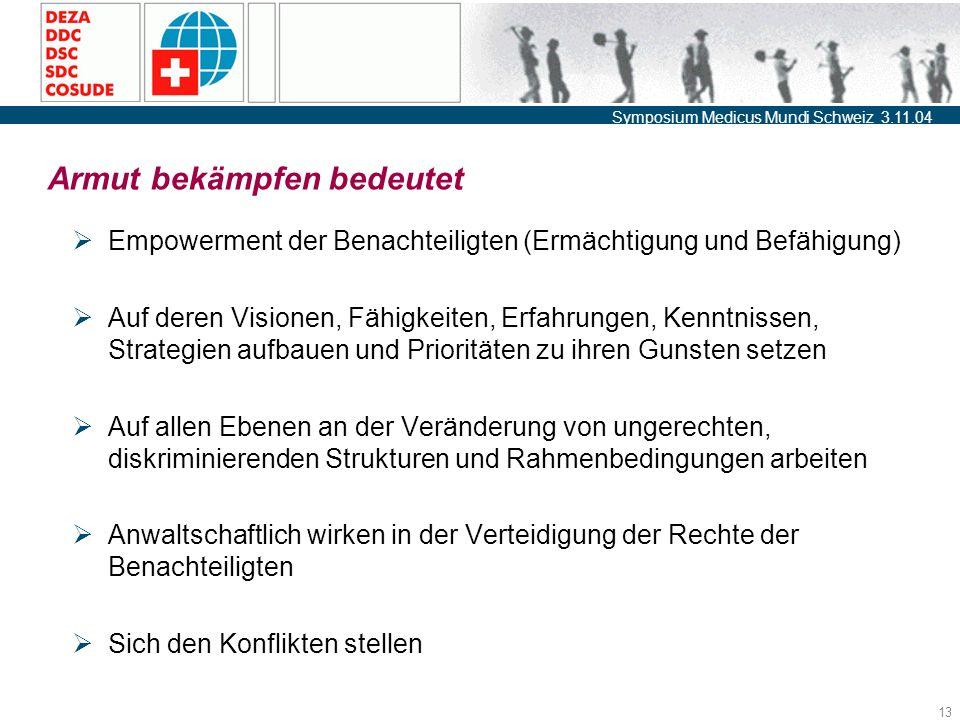 Symposium Medicus Mundi Schweiz 3.11.04 13 Armut bekämpfen bedeutet  Empowerment der Benachteiligten (Ermächtigung und Befähigung)  Auf deren Visionen, Fähigkeiten, Erfahrungen, Kenntnissen, Strategien aufbauen und Prioritäten zu ihren Gunsten setzen  Auf allen Ebenen an der Veränderung von ungerechten, diskriminierenden Strukturen und Rahmenbedingungen arbeiten  Anwaltschaftlich wirken in der Verteidigung der Rechte der Benachteiligten  Sich den Konflikten stellen