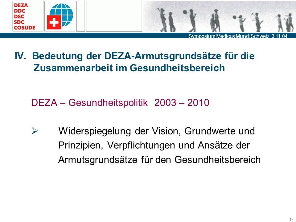 Symposium Medicus Mundi Schweiz 3.11.04 16 IV.