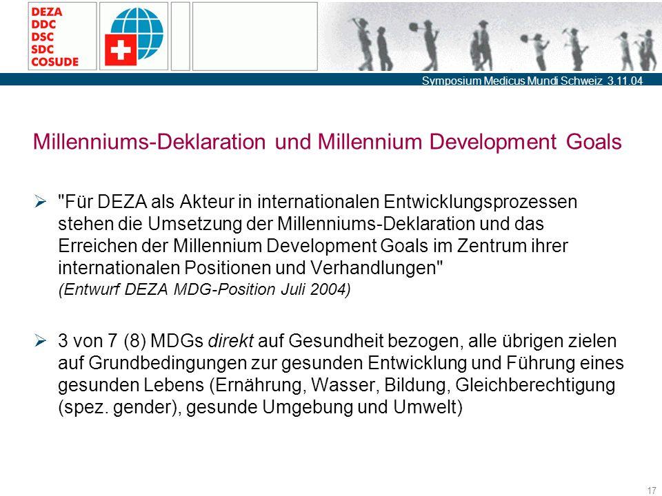 Symposium Medicus Mundi Schweiz 3.11.04 17 Millenniums-Deklaration und Millennium Development Goals  Für DEZA als Akteur in internationalen Entwicklungsprozessen stehen die Umsetzung der Millenniums-Deklaration und das Erreichen der Millennium Development Goals im Zentrum ihrer internationalen Positionen und Verhandlungen (Entwurf DEZA MDG-Position Juli 2004)  3 von 7 (8) MDGs direkt auf Gesundheit bezogen, alle übrigen zielen auf Grundbedingungen zur gesunden Entwicklung und Führung eines gesunden Lebens (Ernährung, Wasser, Bildung, Gleichberechtigung (spez.