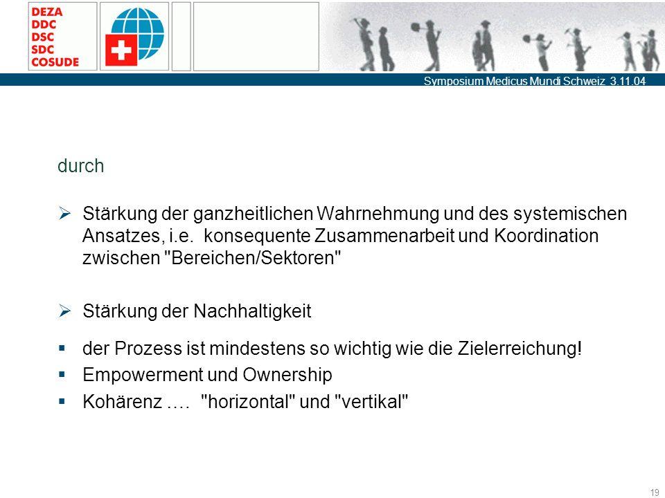Symposium Medicus Mundi Schweiz 3.11.04 19 durch  Stärkung der ganzheitlichen Wahrnehmung und des systemischen Ansatzes, i.e.