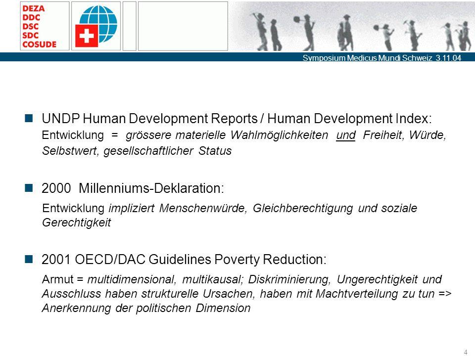 Symposium Medicus Mundi Schweiz 3.11.04 4 UNDP Human Development Reports / Human Development Index: Entwicklung = grössere materielle Wahlmöglichkeiten und Freiheit, Würde, Selbstwert, gesellschaftlicher Status 2000 Millenniums-Deklaration: Entwicklung impliziert Menschenwürde, Gleichberechtigung und soziale Gerechtigkeit 2001 OECD/DAC Guidelines Poverty Reduction: Armut = multidimensional, multikausal; Diskriminierung, Ungerechtigkeit und Ausschluss haben strukturelle Ursachen, haben mit Machtverteilung zu tun => Anerkennung der politischen Dimension