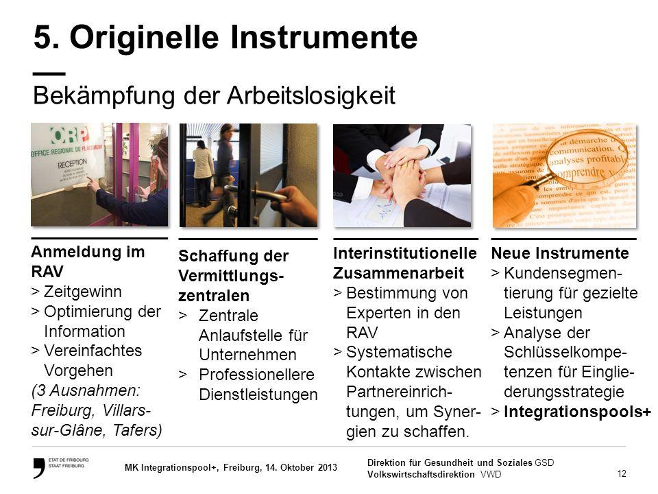 12 Direktion für Gesundheit und Soziales GSD Volkswirtschaftsdirektion VWD MK Integrationspool+, Freiburg, 14. Oktober 2013 Bekämpfung der Arbeitslosi