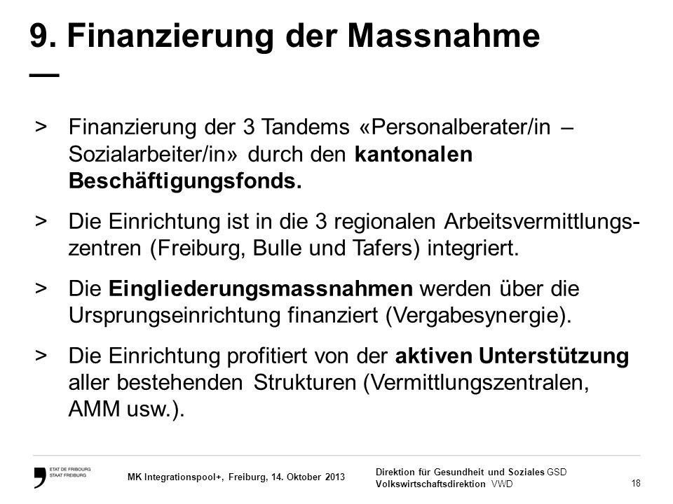 18 Direktion für Gesundheit und Soziales GSD Volkswirtschaftsdirektion VWD MK Integrationspool+, Freiburg, 14. Oktober 2013 9. Finanzierung der Massna
