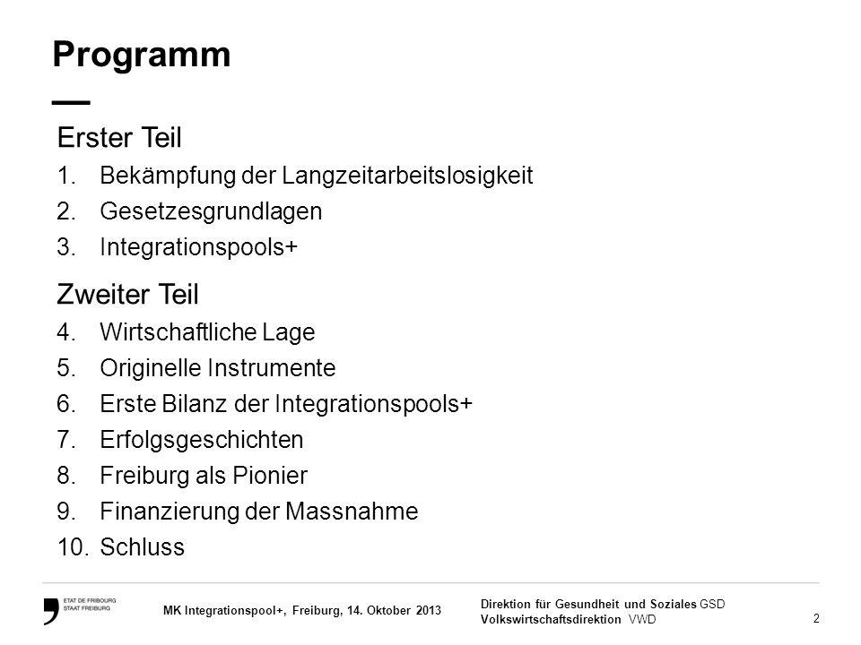 2 Direktion für Gesundheit und Soziales GSD Volkswirtschaftsdirektion VWD MK Integrationspool+, Freiburg, 14. Oktober 2013 Programm — Erster Teil 1.Be