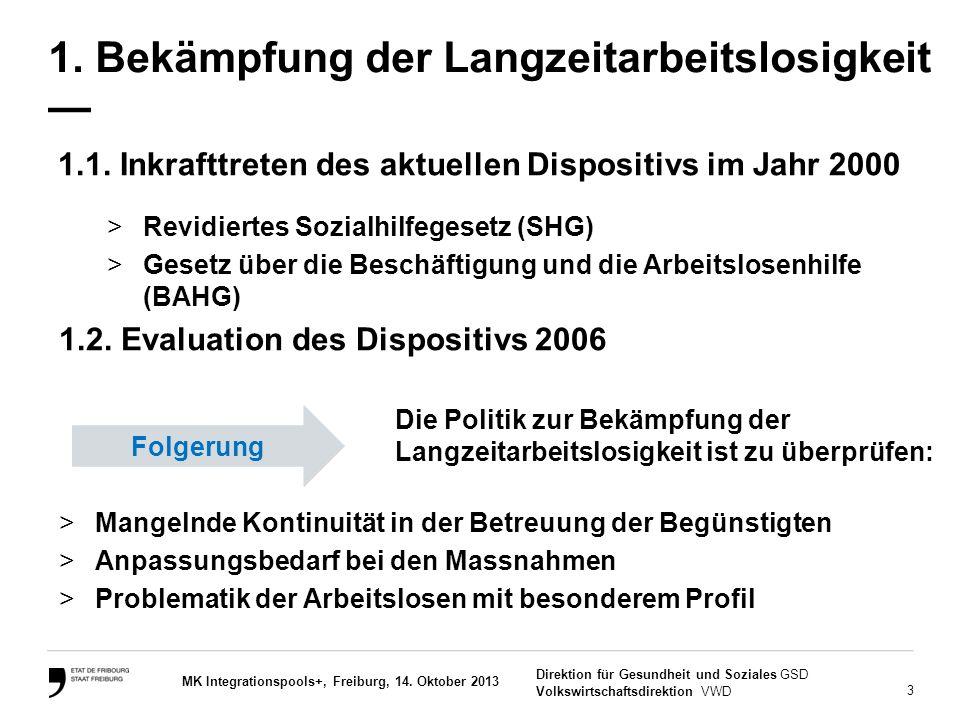 3 Direktion für Gesundheit und Soziales GSD Volkswirtschaftsdirektion VWD MK Integrationspools+, Freiburg, 14. Oktober 2013 1. Bekämpfung der Langzeit