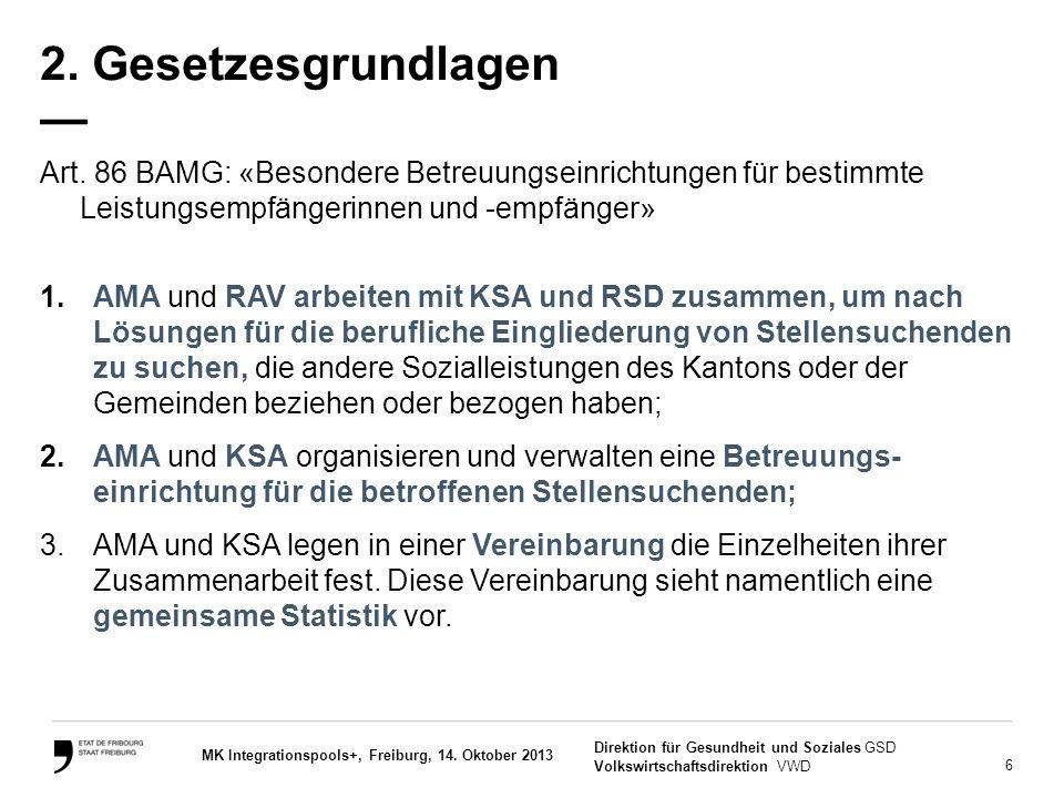 6 Direktion für Gesundheit und Soziales GSD Volkswirtschaftsdirektion VWD MK Integrationspools+, Freiburg, 14. Oktober 2013 2. Gesetzesgrundlagen — Ar