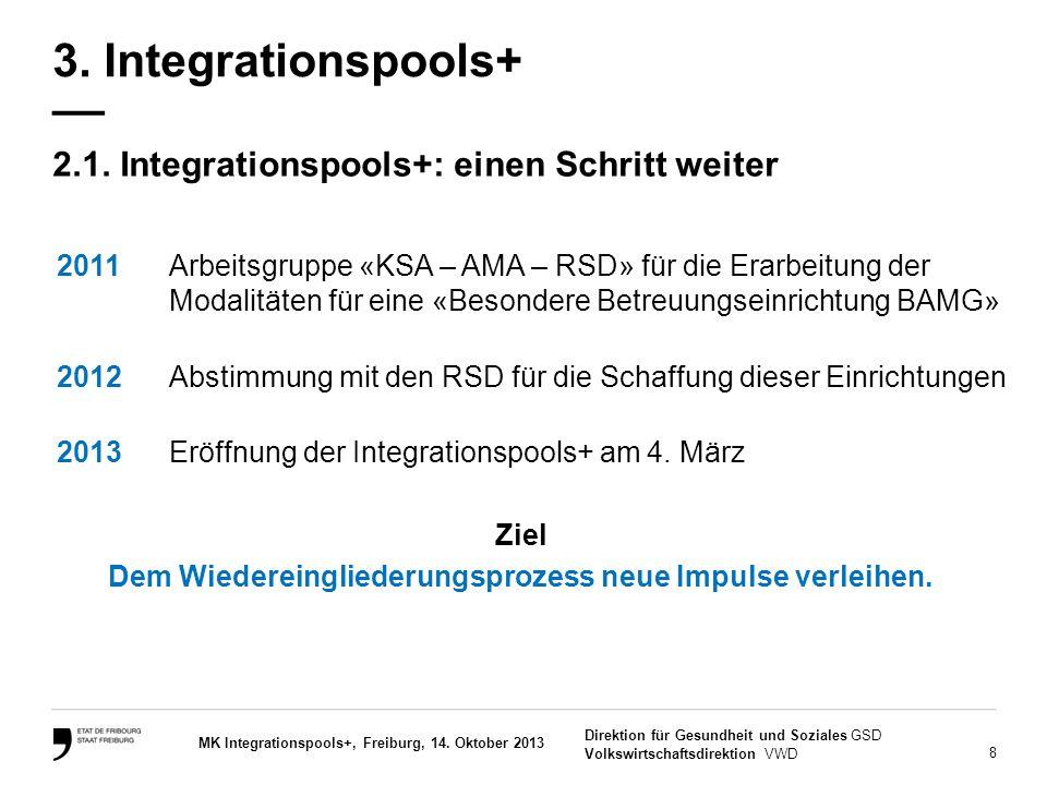 8 Direktion für Gesundheit und Soziales GSD Volkswirtschaftsdirektion VWD MK Integrationspools+, Freiburg, 14. Oktober 2013 2.1. Integrationspools+: e