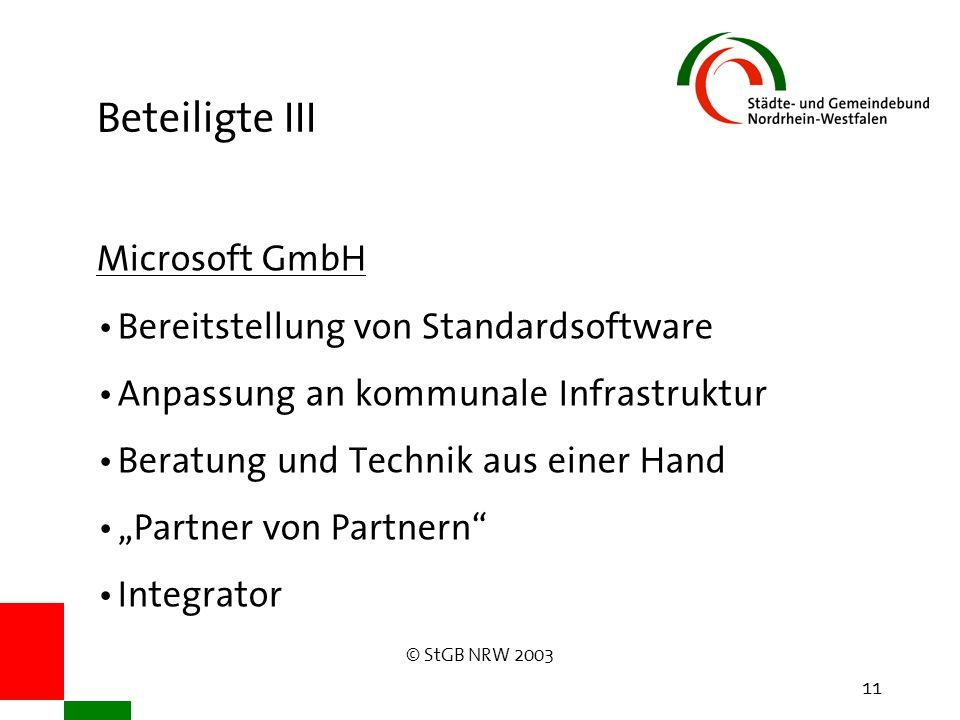 © StGB NRW 2003 11 Beteiligte III Microsoft GmbH Bereitstellung von Standardsoftware Anpassung an kommunale Infrastruktur Beratung und Technik aus ein