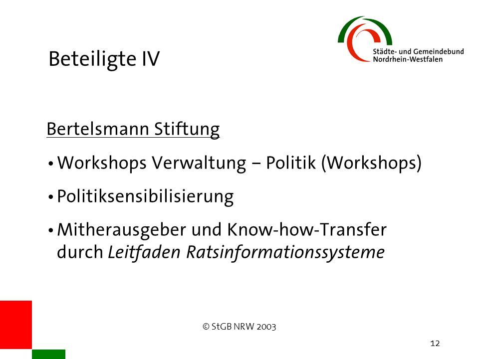 © StGB NRW 2003 12 Beteiligte IV Bertelsmann Stiftung Workshops Verwaltung – Politik (Workshops) Politiksensibilisierung Mitherausgeber und Know-how-Transfer durch Leitfaden Ratsinformationssysteme